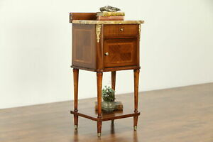 French Antique Tulipwood Banding Mahogany Nightstand Marble Top 32234