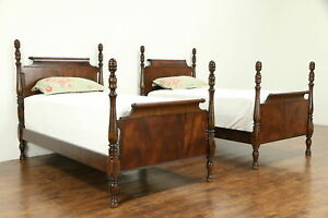 Pair Of Antique 1920 Mahogany Twin Poster Beds Scrolled Headboards 32265