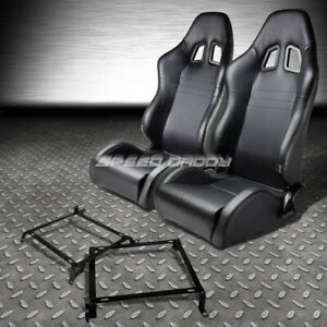 Reclinable Pvc Carbon Style Leather Racing Seat Bracket For 88 91 Civic Cr X