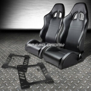 Reclinable Pvc Carbon Style Leather Racing Seat Bracket For 97 06 Jeep Wrangler