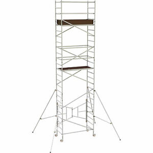 Metaltech 18ft Aluminum Scaffold W guardrail outriggers 800lb Cap al q0106