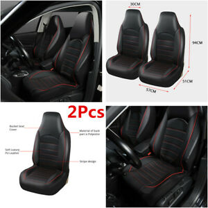 Car Auto Synthetic Leather Front 2 Seat Covers Universal Seat Bucket Protector
