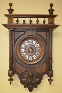 Antique French 8 Day Wall Clock Late 1800 S