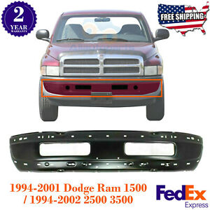 Front Bumper Primed Steel For 1994 2001 Dodge Ram 1500 1994 2002 Ram 2500 3500