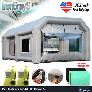 26x15x10ft Spray Booth Inflatable Paint Tent 2x950w Blowers Additional Filters