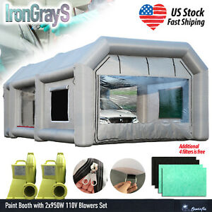 26x15x10ft Inflatable Spray Booth Paint Tent 2x950w Blowers Additional Filters