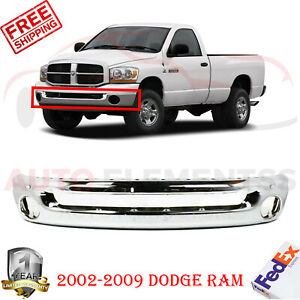 Front Bumper Chrome Steel W Fog Light Holes For 2002 2009 Dodge Ram 55077946ab