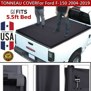 For 2004 2019 Ford F 150 5 5ft Short Bed Soft Tri Fold Tonneau Cover Clamp On