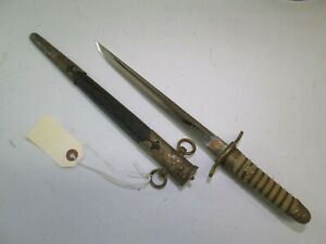Wwii Japanese Samurai Navy Officers Tanto Sword W Shark Skin Scabbard Mint N109