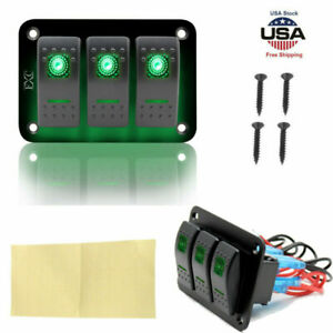 Green Led Switch Panel Breaker 3gang Car Marine Boat Rocker Voltmeter Waterproof