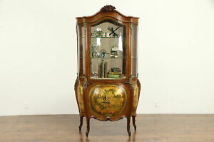 French Antique Bombe Curved Glass Vitrine Curio China Cabinet Painting 32296