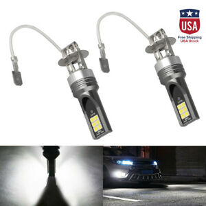 1pair Car H3 Cob Led 14000lm Conversion Kit Bulb Fog Light Lamp Super White Us