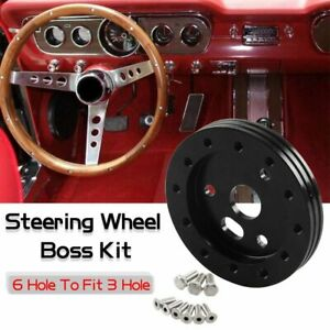 Black 6 Hole Steering Wheel Hub Adapter Conversion Spacer Fit Grant Apc 3 Hole