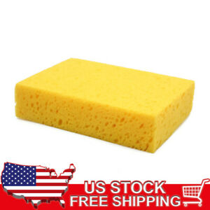 Yellow 20 X 13 5 X 5cm Car Wash Sponge Perforated Surface For Vehicle Care