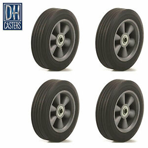 4 Dh Caster 8 Flat Free Wheel Tire Box Cart Dolly Generator Truck Wagon Washer