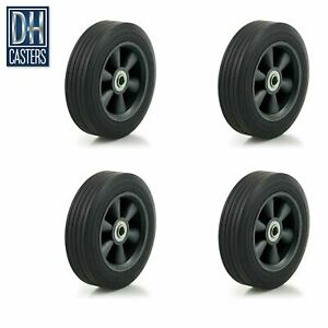 4 dh Casters 8 Flat Free Wheel Tire Box Cart Dolly Generator Truck Wagon Washer