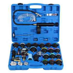 Adapter Radiator Pressure Tester Test Kit With Coolant Vacuum Purge Refill 28pcs