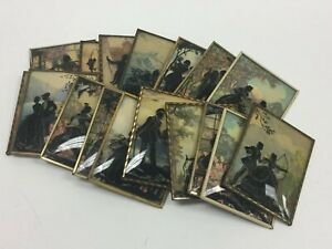 Lot Of 17 Vtg Reverse Painted Silhouette Convex Curved Glass Victorian Framed