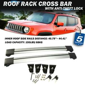 Pair Roof Rack Cross Bar Aluminum Cargo Carrier Rail For Jeep Renegade 2014 2017