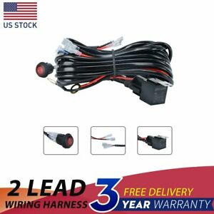1x 2 Lead Led Light Bar Wiring Harness Kit 12v 40a Fuse Relay On Off Switch
