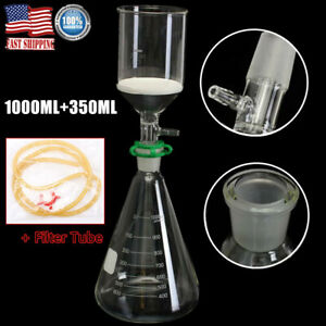 1000ml Suction Filtration Kit Buchner Funnel Erlenmeyer Flask Vacuum Suction New