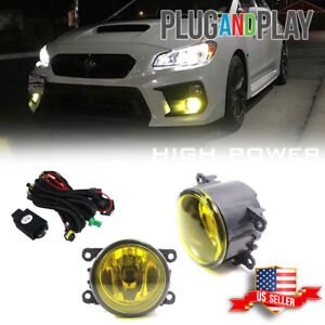 Golden Yellow Halogen Front Fog Lights Bulbs Harness Kit For 2015 18 Subaru Wrx