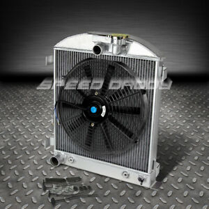3 row Full Aluminum Radiator 14 Fan 1932 Ford B Low Boy Chevy Mopar Chopped V8