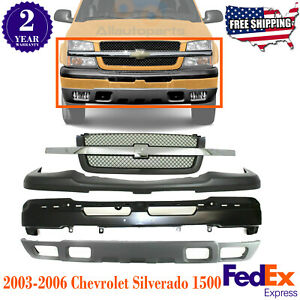 Front Bumper Primed Steel Up low Cover Grille For 03 07 Chevy Silverado 1500