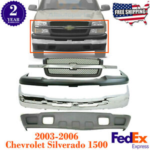 Front Bumper Chrome Steel Grille Valance For 2003 2007 Chevy Silverado 1500