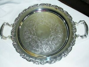 Vintage Godinger Baroque 14 Butler Serving Tray Silver Plated W Handles Unused
