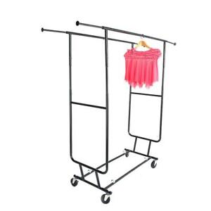New Heavy Duty Steel Double Rail Adjustable Rolling Clothing Garment Rack