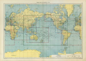 World Index Map To Charts Large 50x70cm 1952 Old Vintage Plan