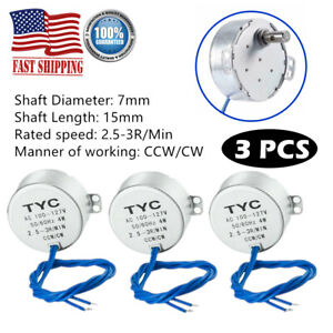 3x Turntable Synchronous Motor Electric Synchron Motor 100 127vac For Cup Turner