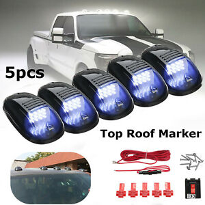 5pcs Smoked Cab Roof Top Led Marker Running Lights Truck Suv For Jeep 4x4 Pickup