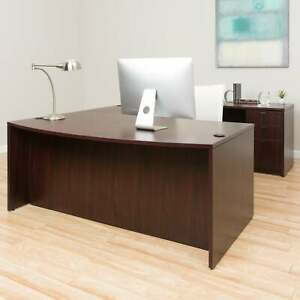 Boss Bow front Workstation Desk Brown Brown
