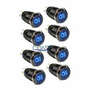 8x Durable 19mm Car Push Black Latching Button Blue Led Driving Light Switch
