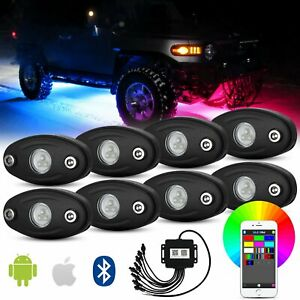 8pc Car Rgb Cree Led Rock Light Kit Bluetooth Music Control For Jeep Truck Atv