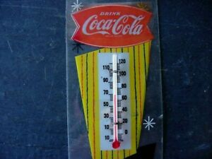 1950s Vintage COCA COLA FISHTAIL Old Thermometer Sign ~ WORKS GREAT~OLD ORIGINAL