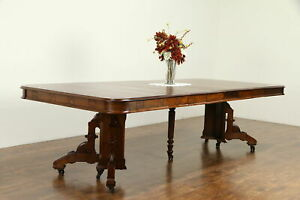 Victorian Eastlake Antique Walnut Dining Table 6 Leaves 110 Long 31846