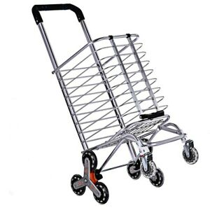 Heavy Duty Large Shopping Cart Utility Cart Foldable Trolley Stair Climbing Cart