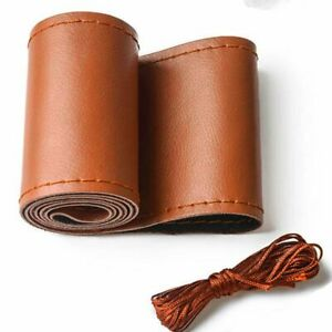Brown 38cm Soft Leather Diy Car Auto Steering Wheel Cover With Needles thread
