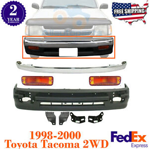Front Bumper Cover Chrome Trim Lights For 1998 2000 Toyota Tacoma 2wd