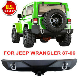 Textured For Jeep Wrangler 87 06 Tj Yj Powder Coated Rear Bumper Black D Rings E