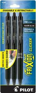 Pilot Frixion Clicker Erasable Refillable Retractable Gel 3 pack Black