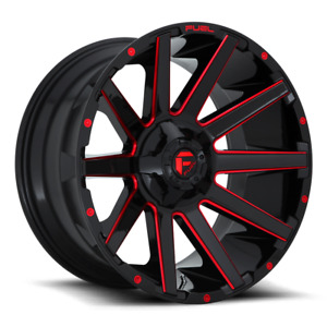 4 20x9 Fuel Gloss Black W Red Contra Wheel 5x114 3 5x127 For Jeep Toyota Gm