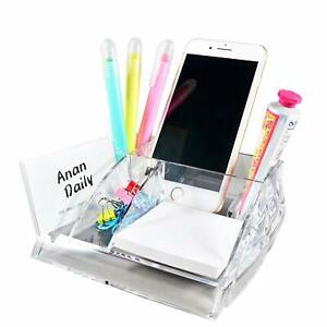 Com top Acrylic Desktop Supplies Organizer memo Note And Paper Clips Included