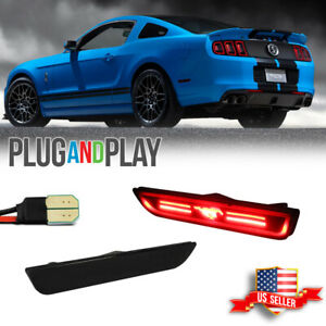 For 2010 2014 Ford Mustang Smoked Red Led Rear Side Marker Signal Lights Lamps