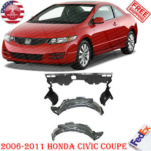 Pair Of Front Fender Liners Engine Splash Guard For 2006 11 Honda Civic Coupe