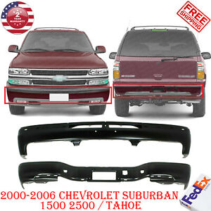 Front And Rear Bumper Black For 2000 2006 Chevrolet Suburban 1500 2500 Tahoe