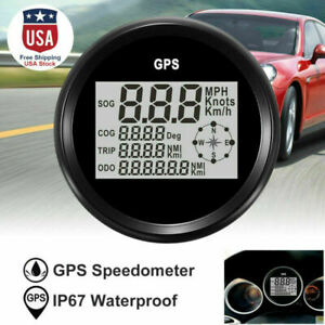 Gps Digital Speedometer Odometer Gauge For Auto Car Truck Boat Marine 85mm New